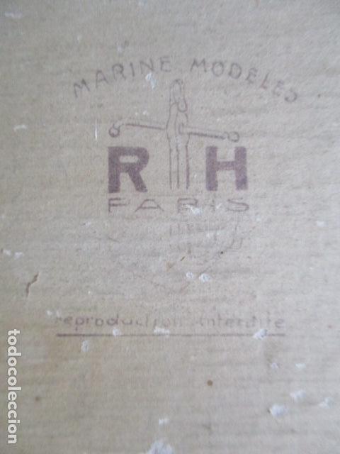 Antigüedades: Antiguo poster, plano de un barco pegado encima de una madera. MARS 1943 - Marine Models RH PARIS - Foto 5 - 84126192