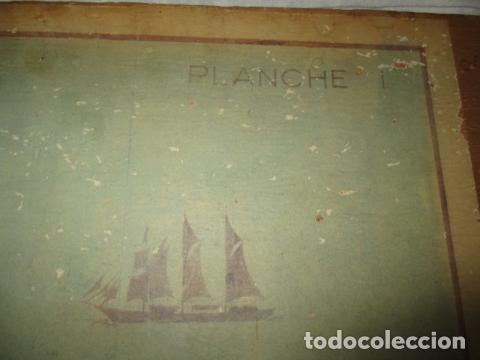 Antigüedades: Antiguo poster, plano de un barco pegado encima de una madera. MARS 1943 - Marine Models RH PARIS - Foto 7 - 84126192