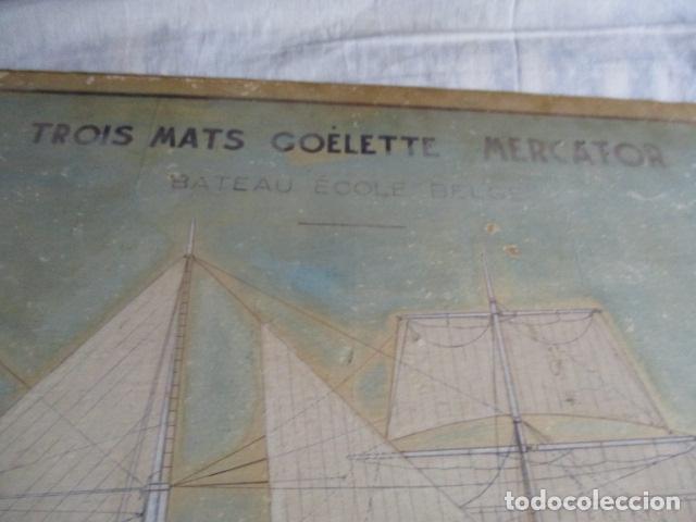 Antigüedades: Antiguo poster, plano de un barco pegado encima de una madera. MARS 1943 - Marine Models RH PARIS - Foto 8 - 84126192