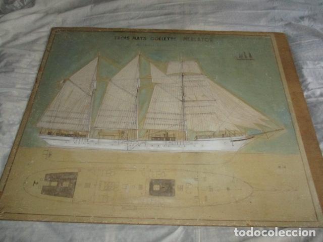 Antigüedades: Antiguo poster, plano de un barco pegado encima de una madera. MARS 1943 - Marine Models RH PARIS - Foto 9 - 84126192