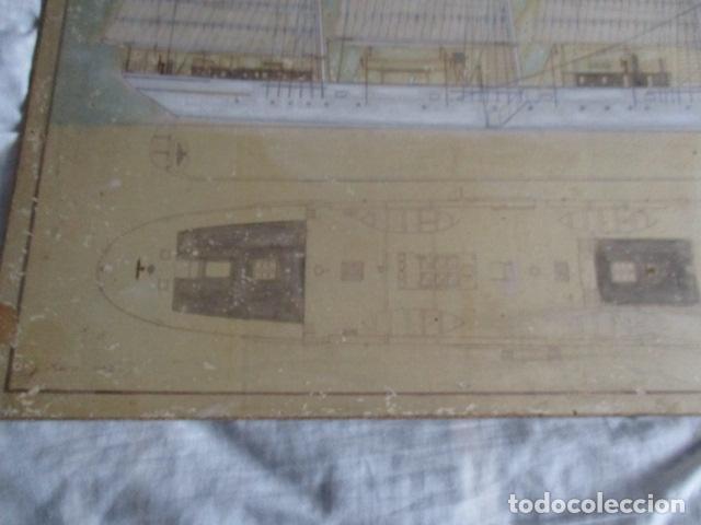 Antigüedades: Antiguo poster, plano de un barco pegado encima de una madera. MARS 1943 - Marine Models RH PARIS - Foto 10 - 84126192