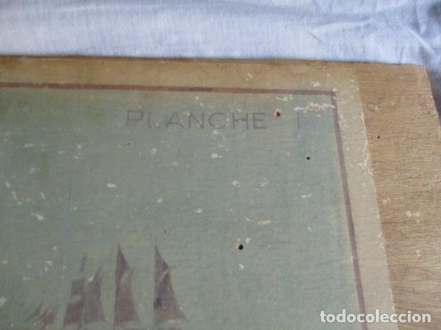 Antigüedades: Antiguo poster, plano de un barco pegado encima de una madera. MARS 1943 - Marine Models RH PARIS - Foto 13 - 84126192