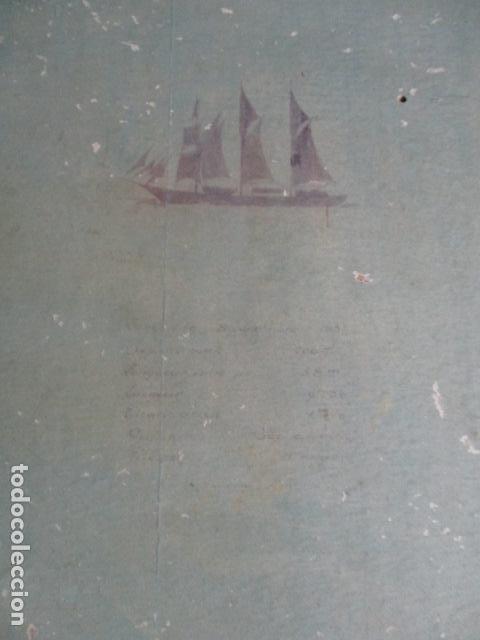Antigüedades: Antiguo poster, plano de un barco pegado encima de una madera. MARS 1943 - Marine Models RH PARIS - Foto 14 - 84126192