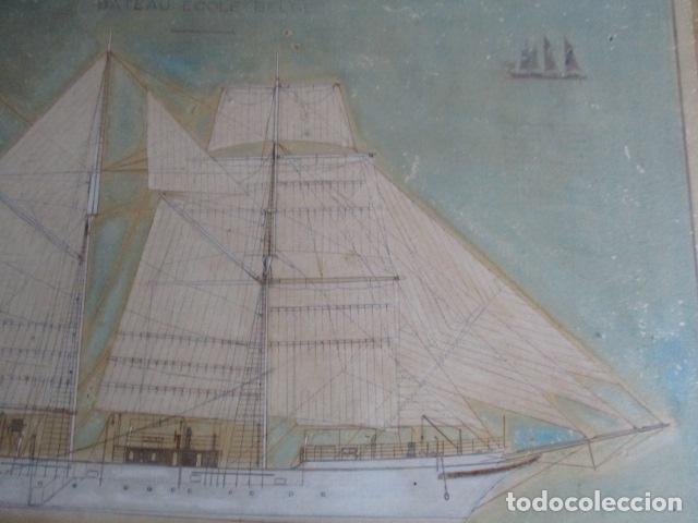 Antigüedades: Antiguo poster, plano de un barco pegado encima de una madera. MARS 1943 - Marine Models RH PARIS - Foto 16 - 84126192