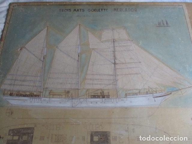 Antigüedades: Antiguo poster, plano de un barco pegado encima de una madera. MARS 1943 - Marine Models RH PARIS - Foto 17 - 84126192