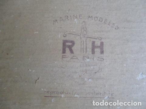 Antigüedades: Antiguo poster, plano de un barco pegado encima de una madera. MARS 1943 - Marine Models RH PARIS - Foto 19 - 84126192