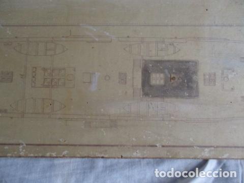 Antigüedades: Antiguo poster, plano de un barco pegado encima de una madera. MARS 1943 - Marine Models RH PARIS - Foto 21 - 84126192