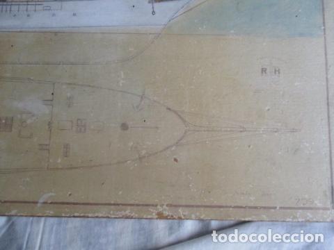 Antigüedades: Antiguo poster, plano de un barco pegado encima de una madera. MARS 1943 - Marine Models RH PARIS - Foto 22 - 84126192