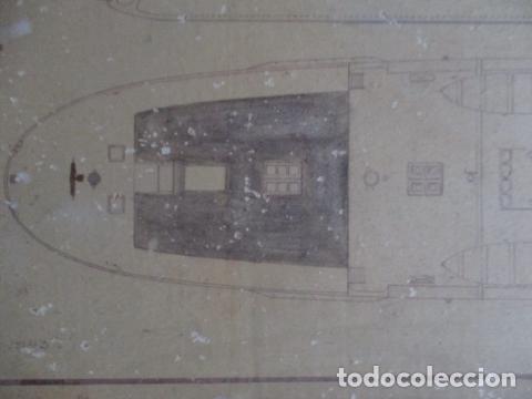 Antigüedades: Antiguo poster, plano de un barco pegado encima de una madera. MARS 1943 - Marine Models RH PARIS - Foto 24 - 84126192
