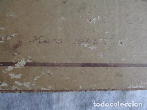 Antigüedades: Antiguo poster, plano de un barco pegado encima de una madera. MARS 1943 - Marine Models RH PARIS - Foto 27 - 84126192