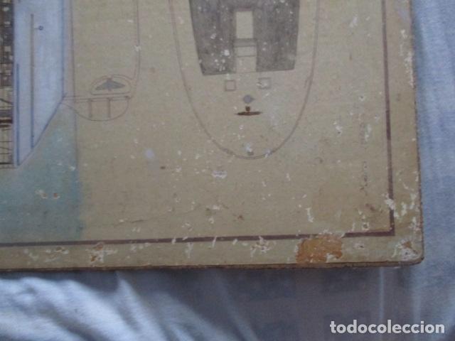 Antigüedades: Antiguo poster, plano de un barco pegado encima de una madera. MARS 1943 - Marine Models RH PARIS - Foto 28 - 84126192