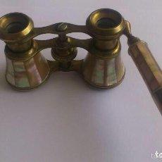 Antigüedades: ANTEOJOS DE TEATRO CON MANGO, BRONCE FORRADOS CON NACAR . Lote 84459528
