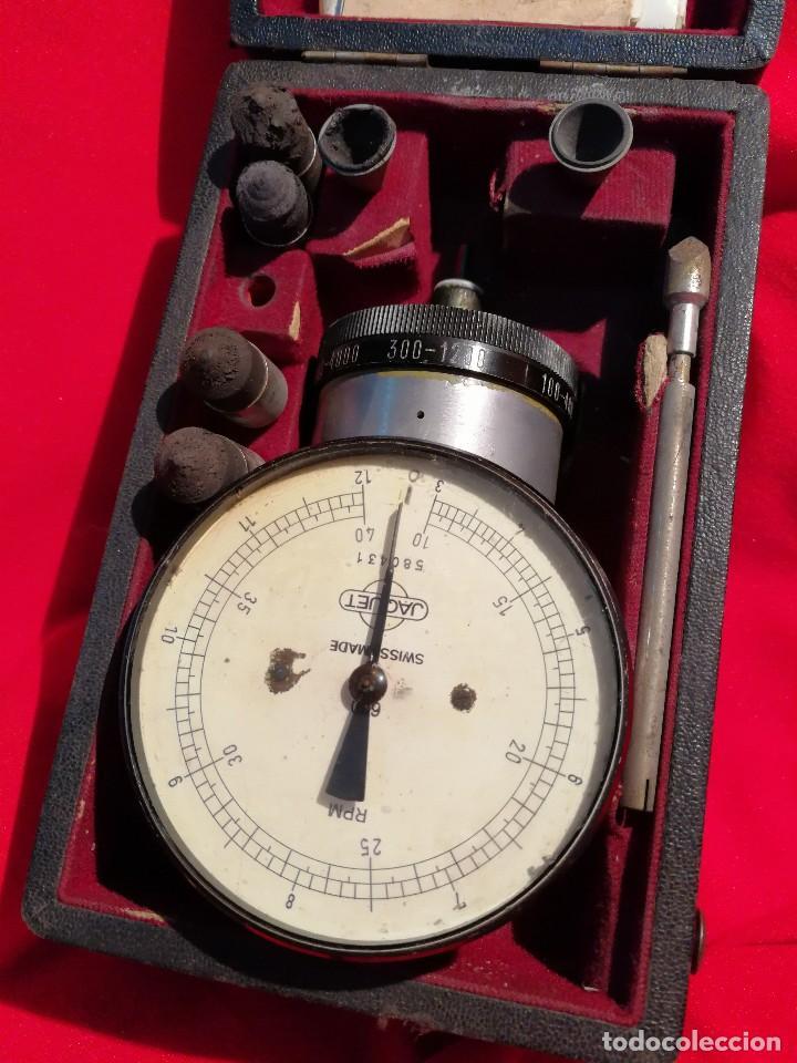 Antigüedades: ANTIGUO TACOMETRO JAQUET FIVE RANGE( SWISS MADE) -CONTADOR DE REVOLUCIONES- COMPLETO!!! - Foto 2 - 84669496