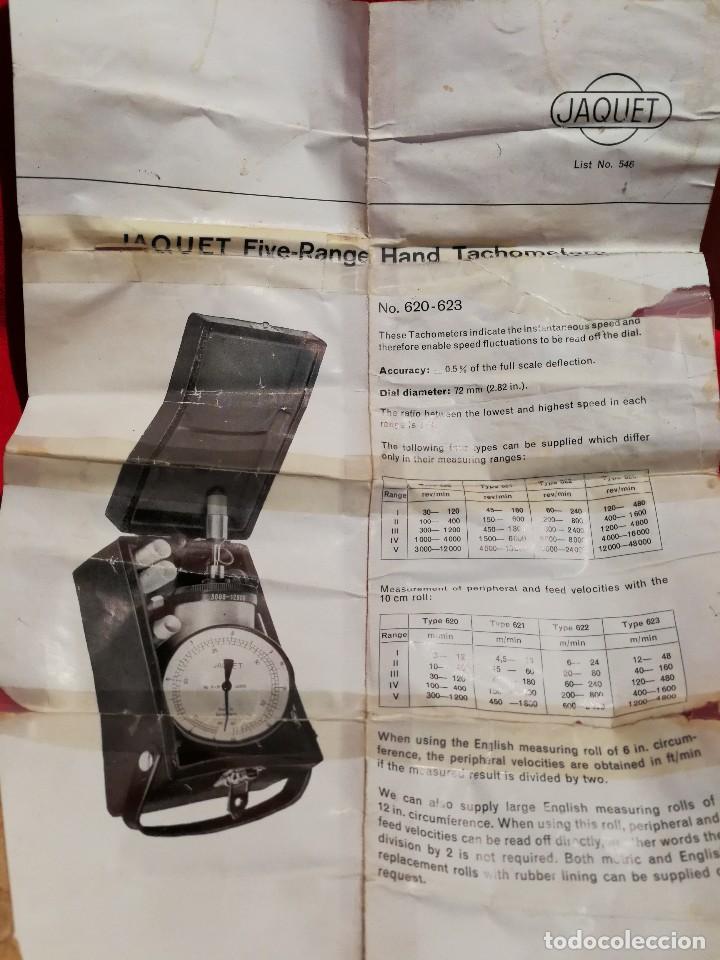 Antigüedades: ANTIGUO TACOMETRO JAQUET FIVE RANGE( SWISS MADE) -CONTADOR DE REVOLUCIONES- COMPLETO!!! - Foto 5 - 84669496