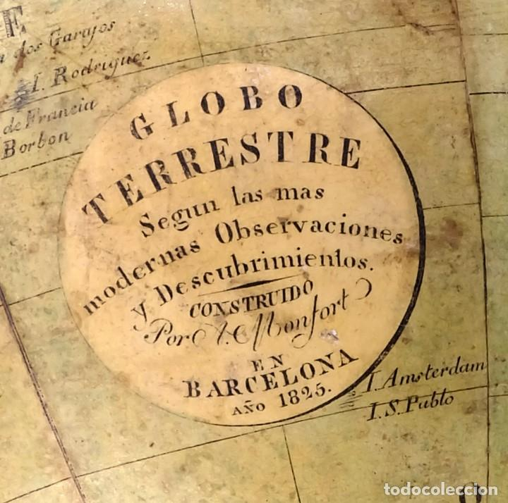 Antigüedades: 1825 - Globo Terráqueo de Antonio Monfort - Sólo 3 ejemplares catalogados - PRIMER GLOBO ESPAÑOL. - Foto 2 - 84843992