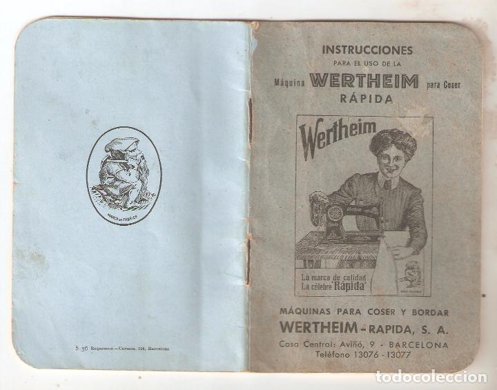 MAQUINA COSER WERTHEIM, INSTRUCCIONES 8,5 X 13 CMS. 28 PAGINAS. VELL I BELL (Antigüedades - Técnicas - Máquinas de Coser Antiguas - Wertheim )