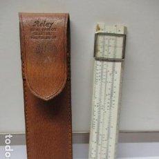 Antigüedades: REGLA DE CALCULO DE MARCA RELAY Nº 505 MADE IN JAPAN / IDEAL BAMBOO SLIDERULE, CON SU FUNDA DE PIEL.. Lote 85676708
