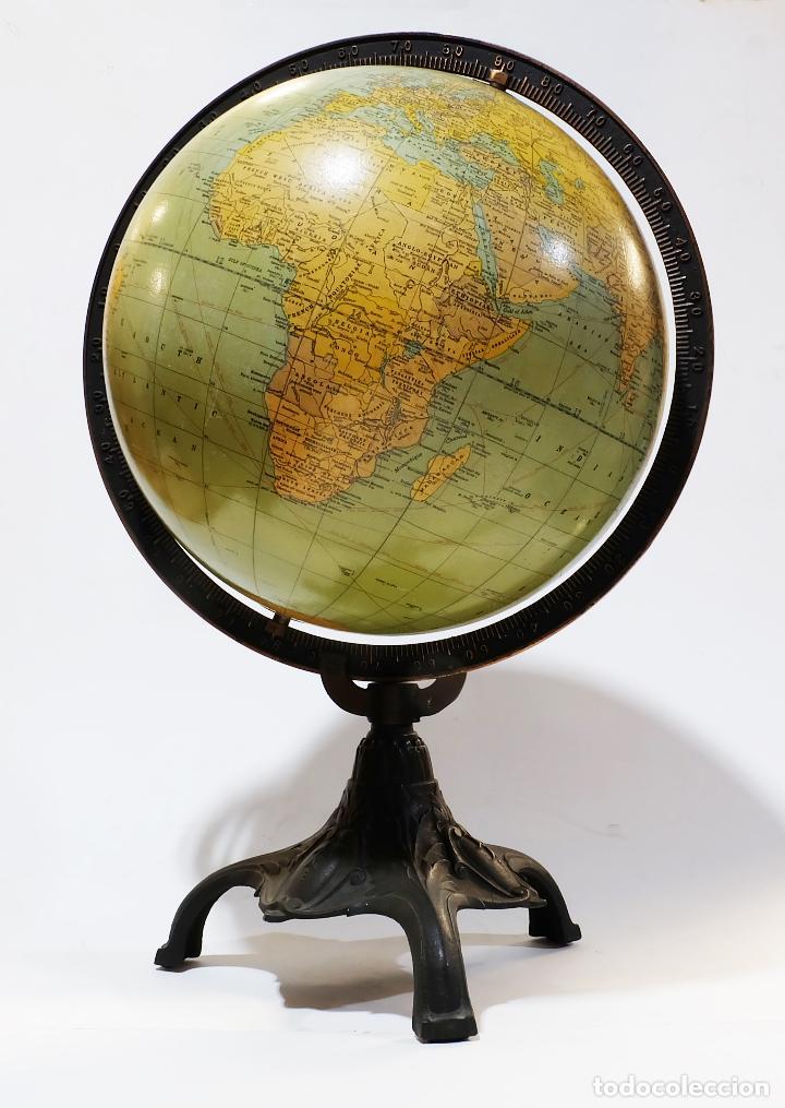 1920 - GLOBO TERRÁQUEO RAND MCNALLY CON SOPORTE LIBERTY ( MODERNISMO ESTADOUNIDENSE) (Antigüedades - Técnicas - Varios)