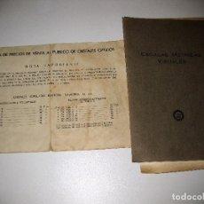 Antigüedades: ESCALAS METRICAS Y VISUALES AÑOS 50 . TARIFA DE PRECIOS CRISTALES OPTICOS . GAFAS OPTICA. Lote 85810264