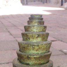 Antigüedades: LOTE JUEGO DE PESAS PESO PESA PARA BASCULA REDONDO COMPLETO. Lote 85884628