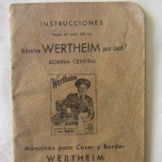 Antigüedades: INSTRUCCIONES MÁQUINA DE COSER WERTHEIM BOBINA CENTRAL.. Lote 92244710