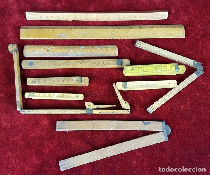 COLECCION DE 11 REGLAS Y CINTAS METRICAS. MADERA. SIGLO XIX. (Antigüedades - Técnicas - Aparatos de Cálculo - Reglas de Cálculo Antiguas)