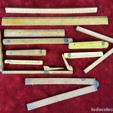 Antigüedades: COLECCION DE 11 REGLAS Y CINTAS METRICAS. MADERA. SIGLO XIX. . Lote 86040540