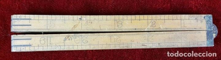 Antigüedades: COLECCION DE 11 REGLAS Y CINTAS METRICAS. MADERA. SIGLO XIX. - Foto 2 - 86040540
