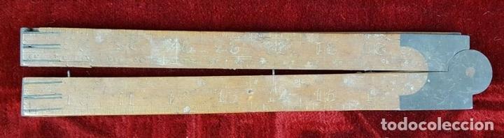 Antigüedades: COLECCION DE 11 REGLAS Y CINTAS METRICAS. MADERA. SIGLO XIX. - Foto 3 - 86040540