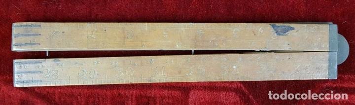 Antigüedades: COLECCION DE 11 REGLAS Y CINTAS METRICAS. MADERA. SIGLO XIX. - Foto 6 - 86040540