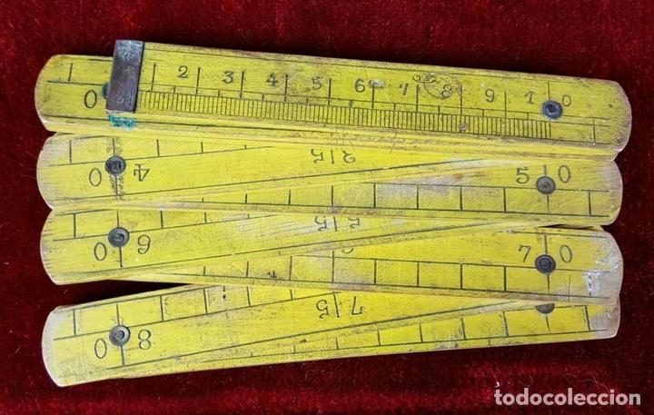 Antigüedades: COLECCION DE 11 REGLAS Y CINTAS METRICAS. MADERA. SIGLO XIX. - Foto 7 - 86040540