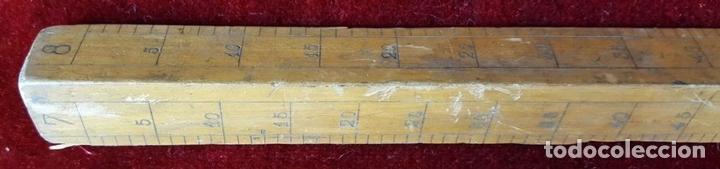 Antigüedades: COLECCION DE 11 REGLAS Y CINTAS METRICAS. MADERA. SIGLO XIX. - Foto 11 - 86040540