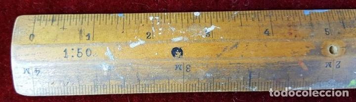Antigüedades: COLECCION DE 11 REGLAS Y CINTAS METRICAS. MADERA. SIGLO XIX. - Foto 12 - 86040540