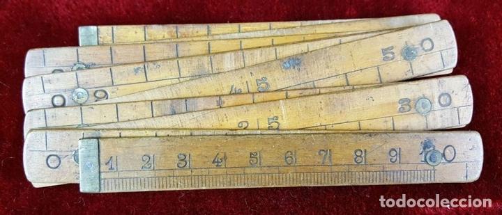 Antigüedades: COLECCION DE 11 REGLAS Y CINTAS METRICAS. MADERA. SIGLO XIX. - Foto 14 - 86040540