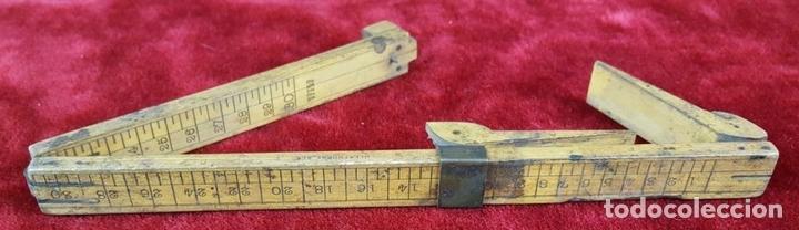 Antigüedades: COLECCION DE 11 REGLAS Y CINTAS METRICAS. MADERA. SIGLO XIX. - Foto 16 - 86040540