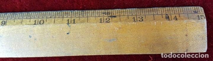 Antigüedades: COLECCION DE 11 REGLAS Y CINTAS METRICAS. MADERA. SIGLO XIX. - Foto 17 - 86040540