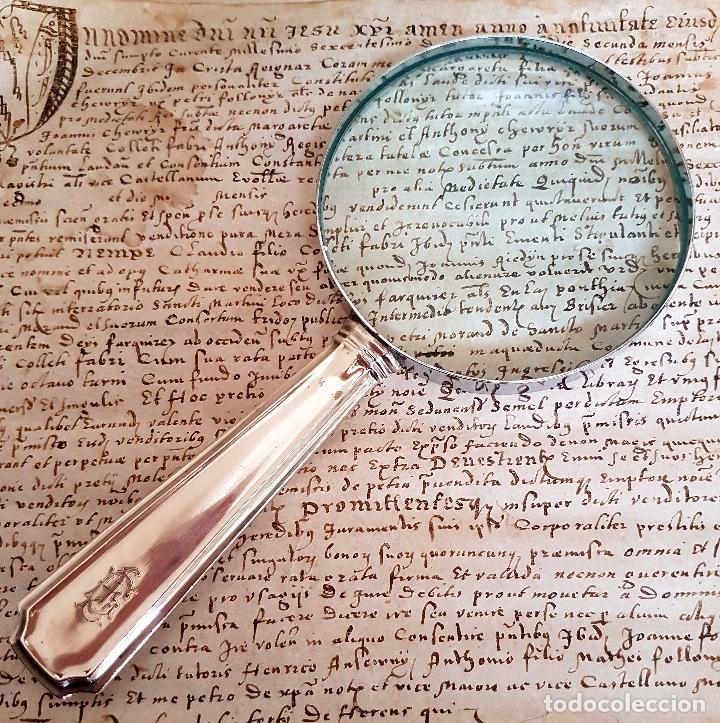 Antigüedades: MUY BONITA LUPA DE BUEN TAMAÑO CON MANGO DE PLATA Y ESMALTE - Foto 3 - 86067564