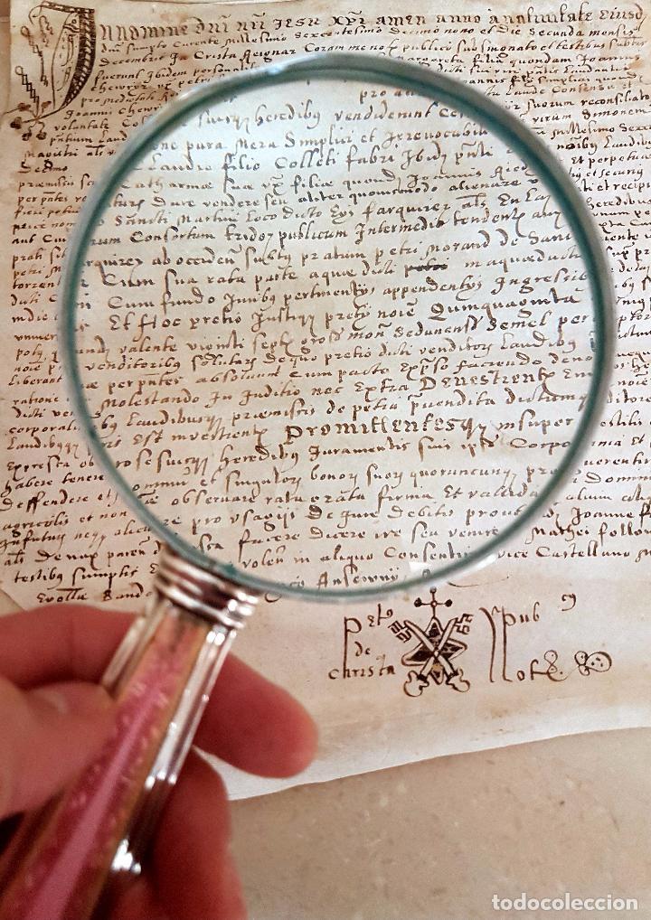Antigüedades: MUY BONITA LUPA DE BUEN TAMAÑO CON MANGO DE PLATA Y ESMALTE - Foto 6 - 86067564