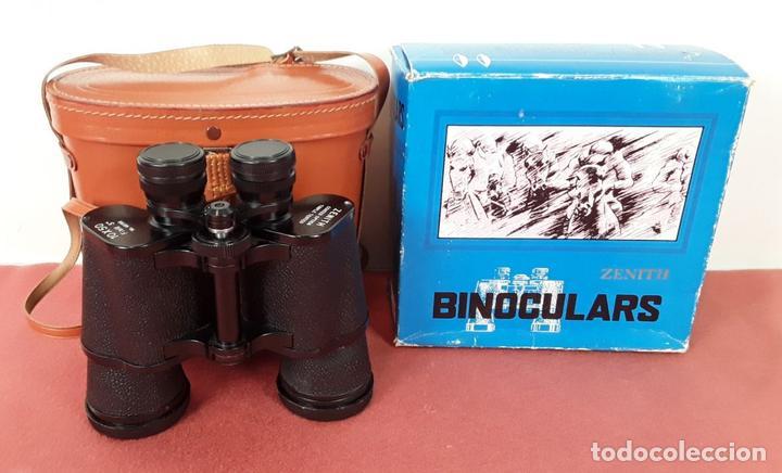 BINOCULARES. ZENITH 10 X 50. FUNDA DE CUERO. CAJA ORIGINAL. ALEMANIA. CIRCA 1970. (Antigüedades - Técnicas - Instrumentos Ópticos - Prismáticos Antiguos)