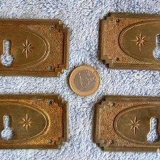 Antigüedades: BOCALLAVE - 4 BOCA LLAVE DE LATON ESTILO MODERNISTA, DECO.. Lote 86125340