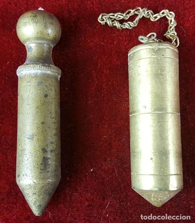 Antigüedades: COLECCIÓN DE 14 PLOMADAS DE ALBAÑIL. BRONCE. SIGLO XVIII-XIX-XX. - Foto 2 - 86550680