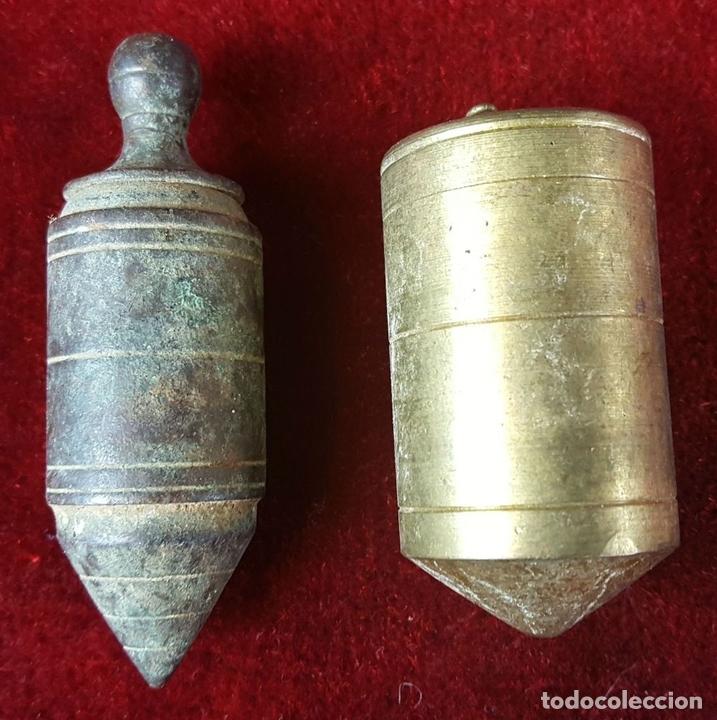 Antigüedades: COLECCIÓN DE 14 PLOMADAS DE ALBAÑIL. BRONCE. SIGLO XVIII-XIX-XX. - Foto 6 - 86550680