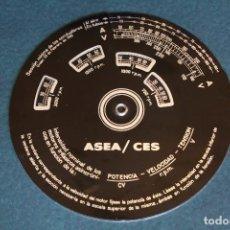 Antigüedades: REGLA DE CALCULO CIRCULAR,INTENSIDAD NOMINAL DE LOS MOTORES TRIFASICOS ASEA/CES. Lote 86598956