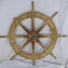 Antigüedades: TIMÓN NAVAL DE BARCO ANTIGUO HUNDIDO. Lote 86662964