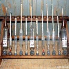 Antigüedades: PRECIOSO JUEGO DE LABORATORIO, ENOLOGIA, MOSTOMETROS, PESAMOSTOS, ALCOHOLIMETROS, BONITA PIEZA. Lote 86665396