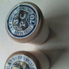 Antigüedades: 2 ANTIGUAS BOBINAS SEDALINAS HILO COSER MÁQUINA HILATURAS DE FABRA I COATS BARCELONA CARRETE MADERA. Lote 86852051