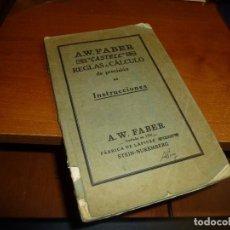 Antigüedades: A. W. FABER CASTELL, REGLAS DE CALCULO DE PRECISION, INSTRUCCIONES, 1928. Lote 86866336