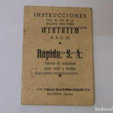 Antigüedades: WERTHEIM MÁQUINA DE COSER LIBRITO MANUAL DE INSTRUCCIONES ANTIGUO Y ORIGINAL. Lote 87202704