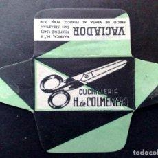 Antigüedades: HOJA DE AFEITAR ANTIGUA-CUCHILLERIA-VACIADOR H. DE COLMENERO-SAN SEBASTIAN-VINTAGE. Lote 87532368