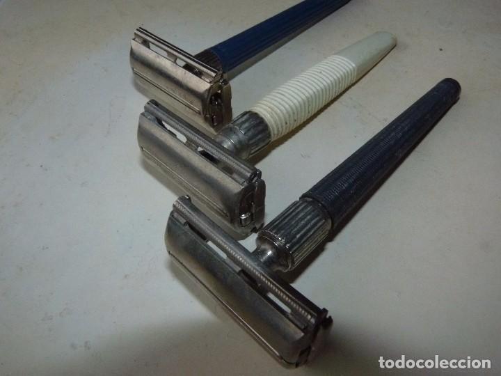 Antigüedades: Raro lote maquinilla afeitar Gillette Slim twist Nack G1000 original colección barba barbero - Foto 5 - 87677508